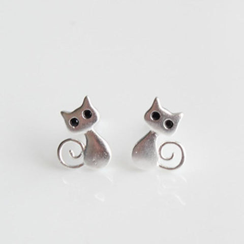 cutecatslovers Real 925 sterling silver cute Cat Earrings