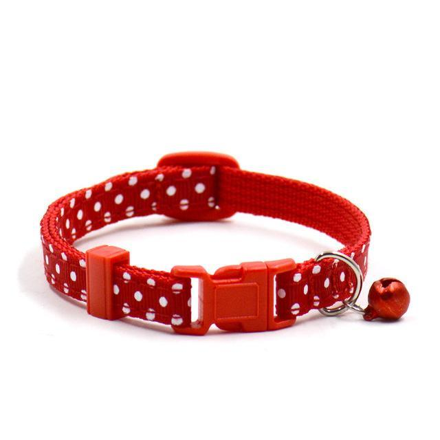 cutecatslovers Red / Adjustable Adjustable Dot Printed Cat Collar in Cute Colors