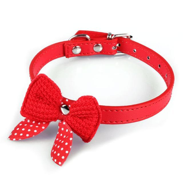 cutecatslovers Red Knit Bowknot Adjustable PU Leather Cute Collar for Cat