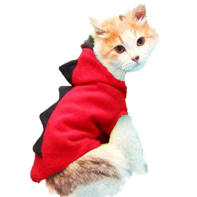 cutecatslovers Red / M Warm Cat Clothes With Dinosaur Motive is a Great Gift For Your Cat