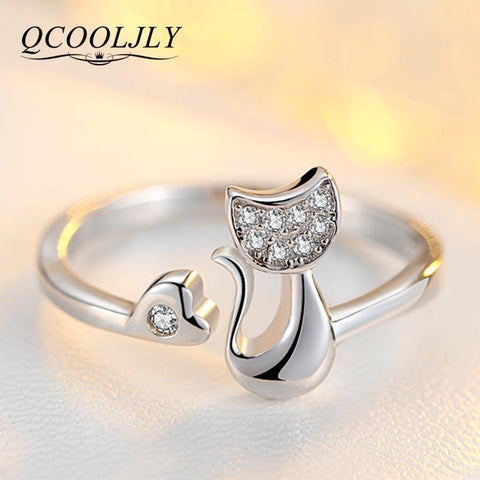 cutecatslovers Rose Gold Cat Shape Ring for Women