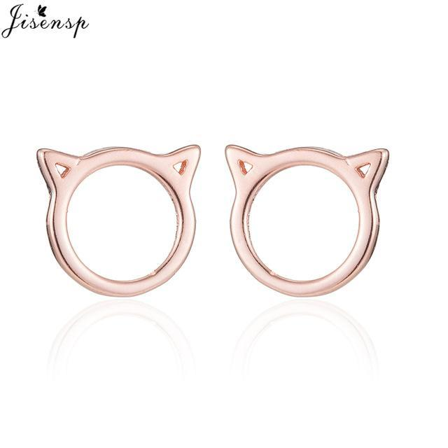 cutecatslovers Rose Gold Color Fashion Earrings Jewelry Cat Shape Cute