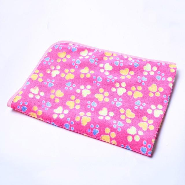 cutecatslovers Rose Red / 20 x 20 cm Warm Paw Print Cute Floral Bed Mat for Your Cat