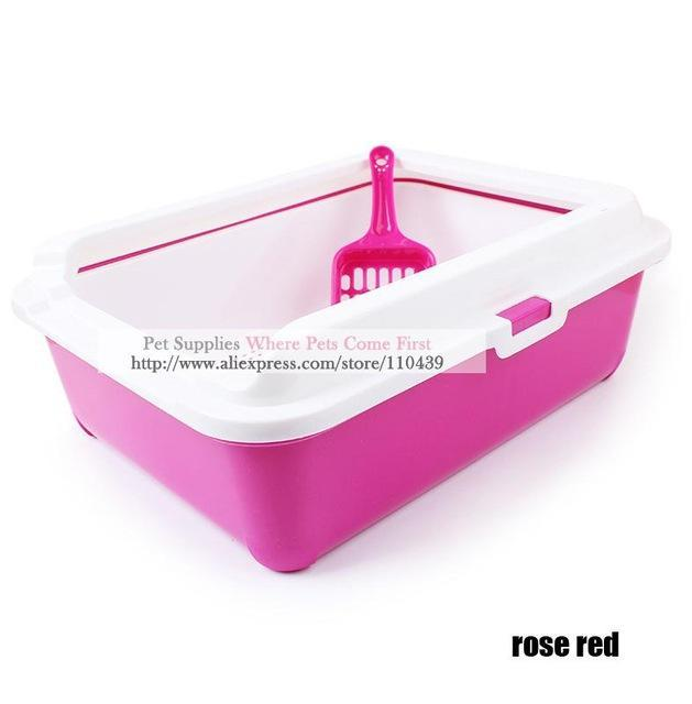 cutecatslovers Rose red / 43cm x 31cm x 15cm High-end Cat Toilet Closed Prevent sand throwing WC Cat Toilet, Cats Litter Box Safe and nontoxic