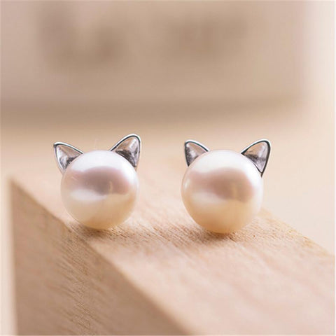 cutecatslovers Round Pearl Earrings - Stud Silver Color Stainless Steel