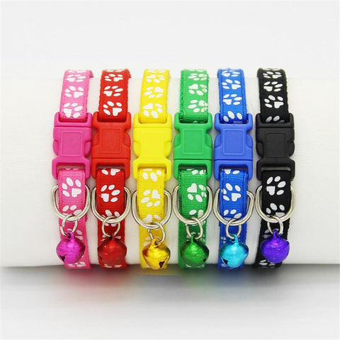 cutecatslovers Safety Nylon Cat Collar With Cat Paw Print Design / Multiple Colors