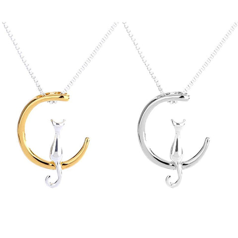 cutecatslovers Silver Gold Moon Lovely Cat Necklaces