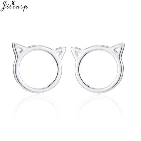 cutecatslovers Silver Plated Fashion Earrings Jewelry Cat Shape Cute