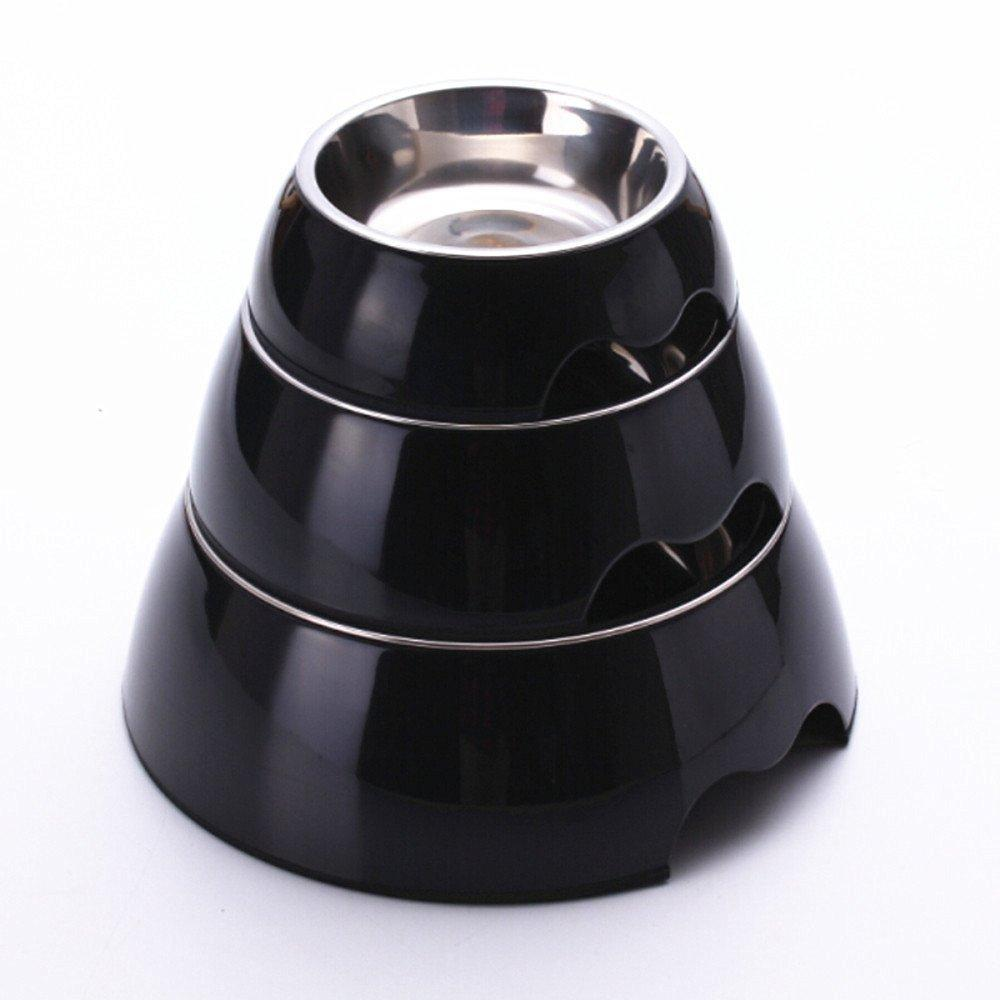 cutecatslovers Solid Melamine Plastic Stainless Steel Cat Feeding / Water Bowl