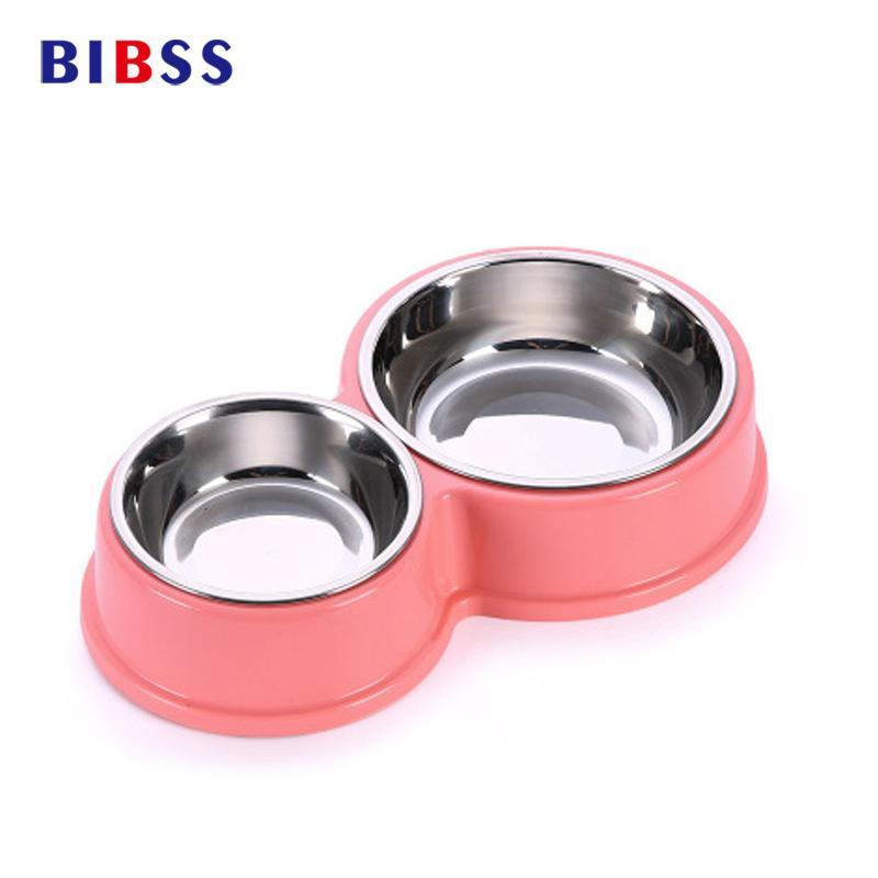 cutecatslovers Stainless Steel Cat Feeding and Watering Bowls Two in One, Anti-slip Bowl
