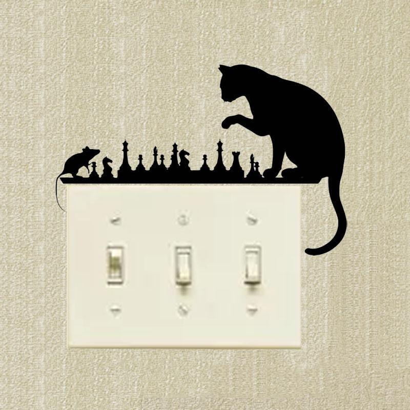 cutecatslovers Switch Sticker Chess Cat Mouse Art, Animals Vinyl Decal Decorative Cartoon
