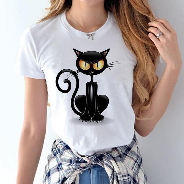 cutecatslovers t shirt women3 / S Black Cat Climbing Up T-Shirt