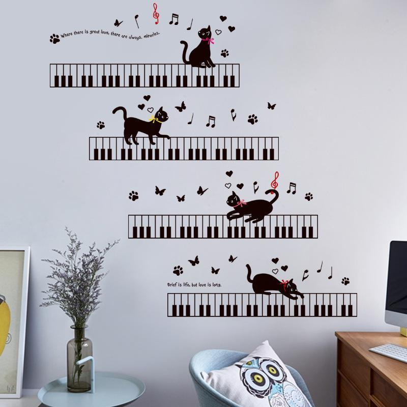 cutecatslovers The Cat On The Piano Music Wall Stickers For Kids Rooms Bedroom
