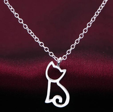 cutecatslovers Unique design Silver plated Funky Cute Kitty Cat necklace