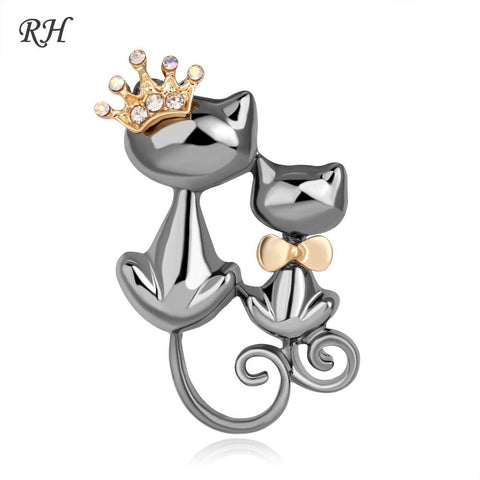 cutecatslovers Vintage Metal Crystal Couple Queen Cat Brooch For Women