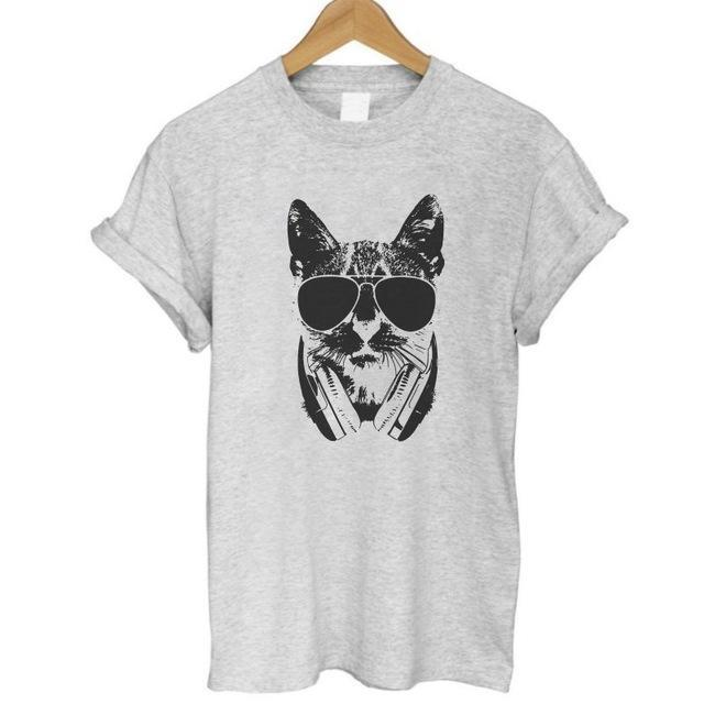 cutecatslovers W GREY / S Cat With Style Headphones And Glasses T-Shirt
