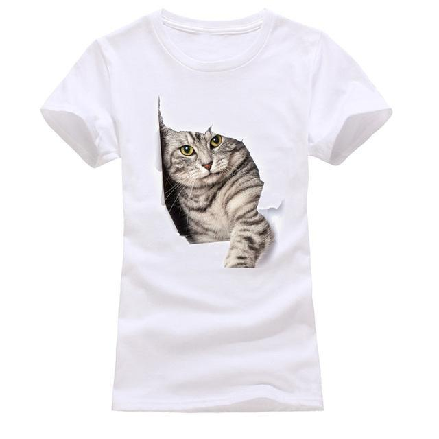 cutecatslovers white 10 / S Cat Looking Out Of T-Shirt