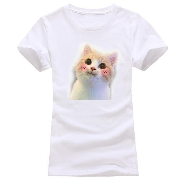 cutecatslovers white 11 / S Cat Looking Out Of T-Shirt