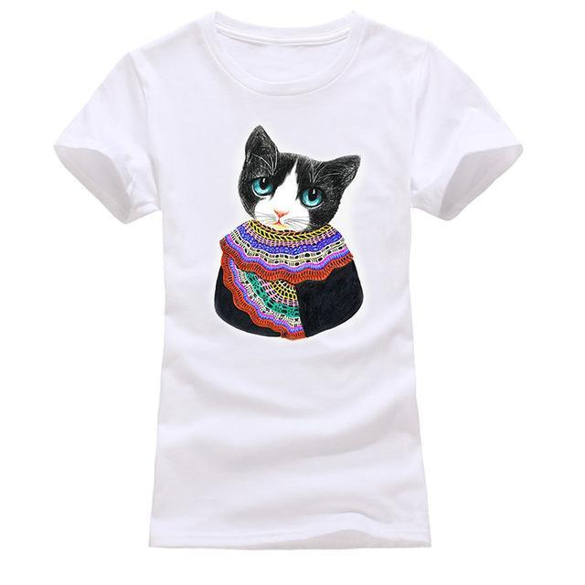 cutecatslovers white 12 / S Cat Looking Out Of T-Shirt