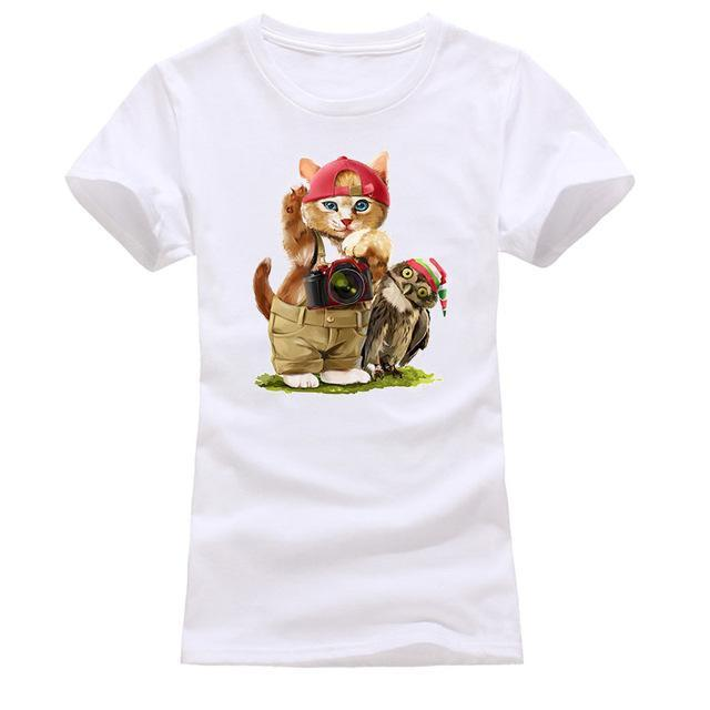 cutecatslovers white 3 / S Cat Looking Out Of T-Shirt