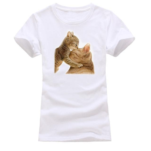 cutecatslovers white 4 / S Cat Looking Out Of T-Shirt