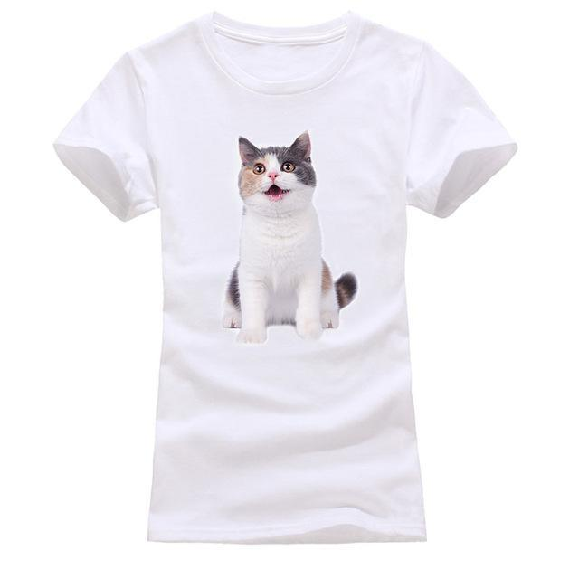 cutecatslovers white 7 / S Cat Looking Out Of T-Shirt