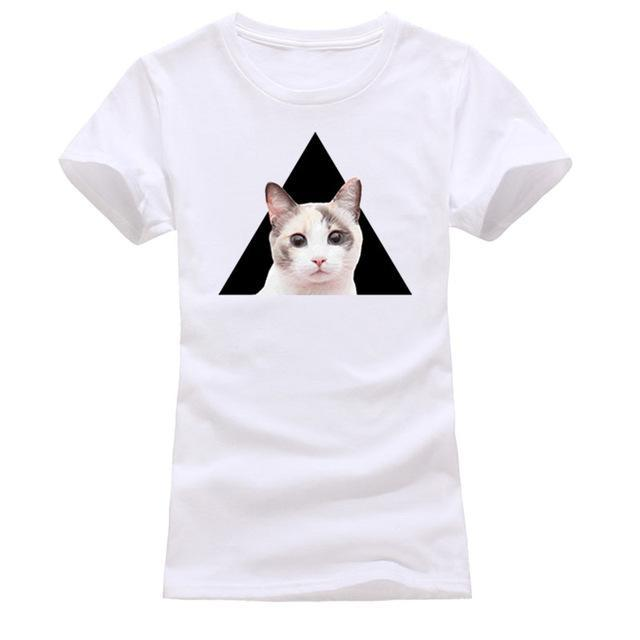 cutecatslovers white 8 / S Cat Looking Out Of T-Shirt