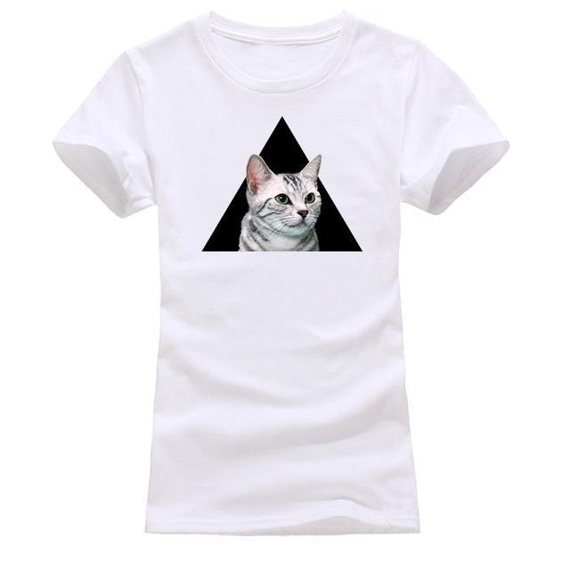 cutecatslovers white 9 / S Cat Looking Out Of T-Shirt