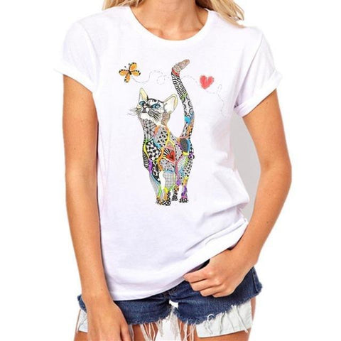 cutecatslovers White / L / China Picasso Motive Cat T-Shirt