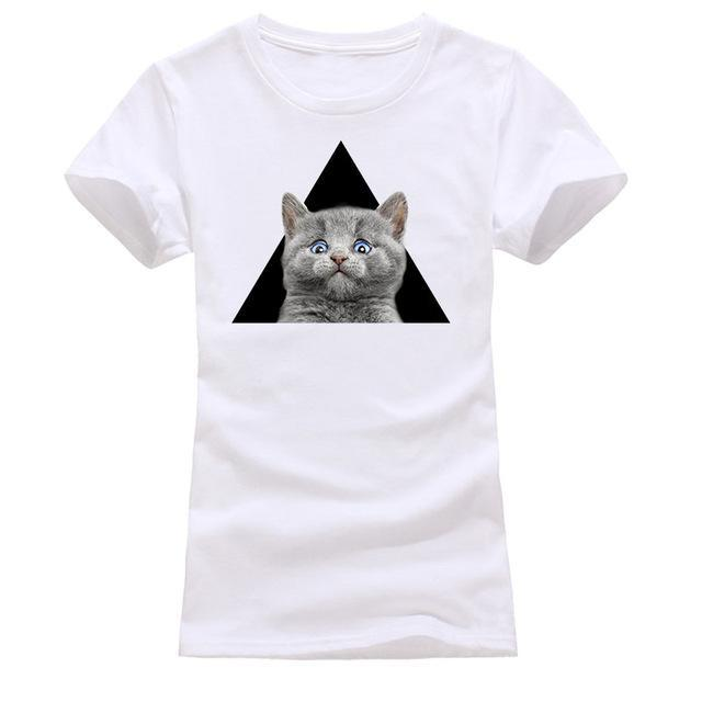 cutecatslovers white / S Cat Looking Out Of T-Shirt