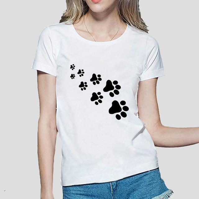 cutecatslovers White / S Cat Paws Fashion T-Shirt