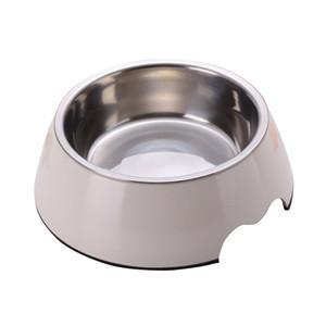 cutecatslovers White / S Solid Melamine Plastic Stainless Steel Cat Feeding / Water Bowl