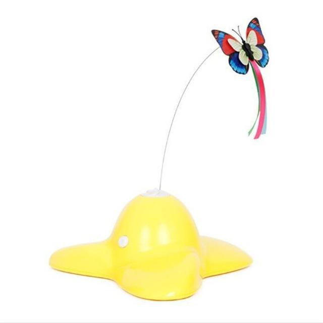 cutecatslovers Yellow / 18.5x20x8cm Electric Pet cat toy rotation colorful Flying Butterfly