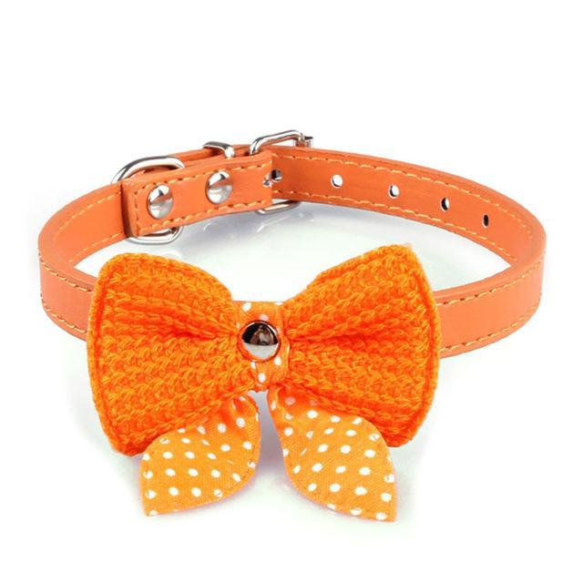 cutecatslovers Yellow Knit Bowknot Adjustable PU Leather Cute Collar for Cat