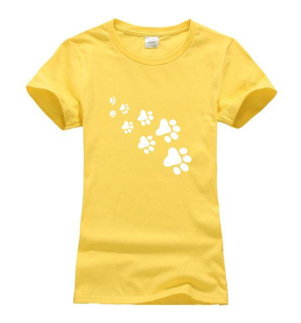 cutecatslovers Yellow / S Cat Paws Fashion T-Shirt