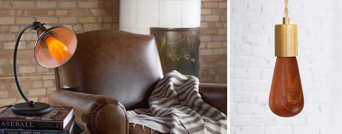 Living room reading chair decor with vintage lamp and mahogany light bulb