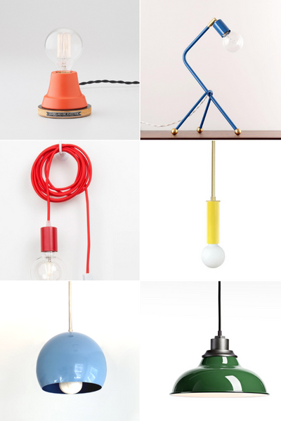 Best Colorful Light Fixtures from desk lamps to pendants