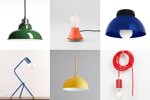 Colorful playful exposed bulb fixtures for modern lighting design