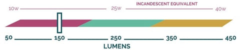 Lumen output scale showing that the Color Swirl bulb by Relamp produces approximately 150 lumens.