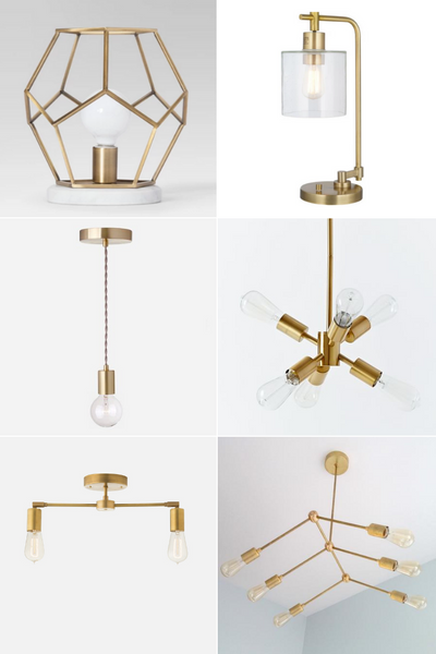 Best Brass Light Fixtures from table lamp to sputnik
