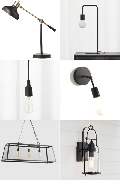 Favorite Black Light Fixtures from pendant to desk lamp