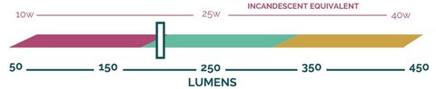 Lumen output scale showing that the Giraffe bulb by Relamp produces approximately 200 lumens.