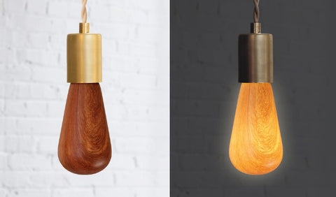 Wood Light Bulb in Mahogany shown off and on