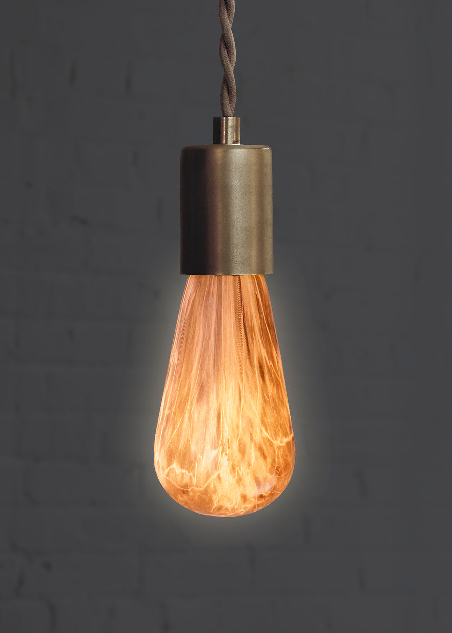 Marble Light Bulb in Caramel for modern light fixtures lit