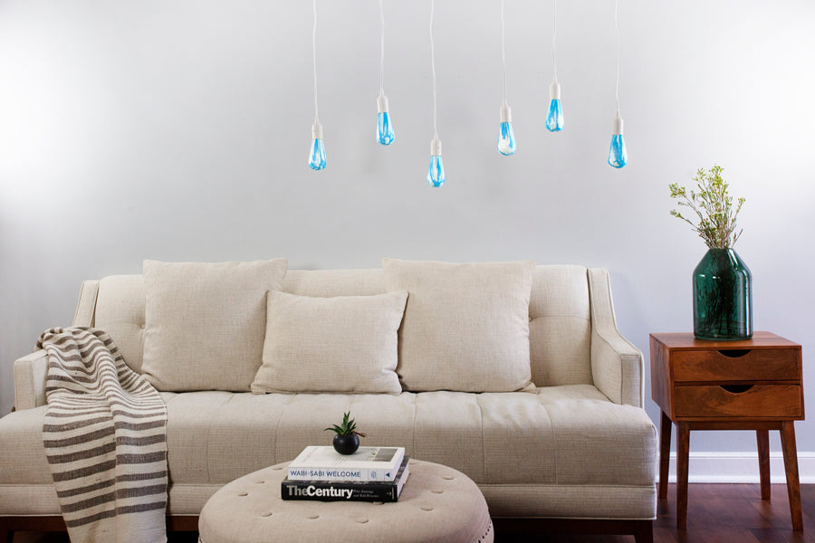 Clouds light bulb provides bright lighting in living room