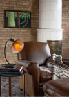 Mahogany wood light bulb emphasizes trendy living room design
