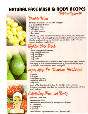 Natural Face Mask and Body Recipes Lament Chart
