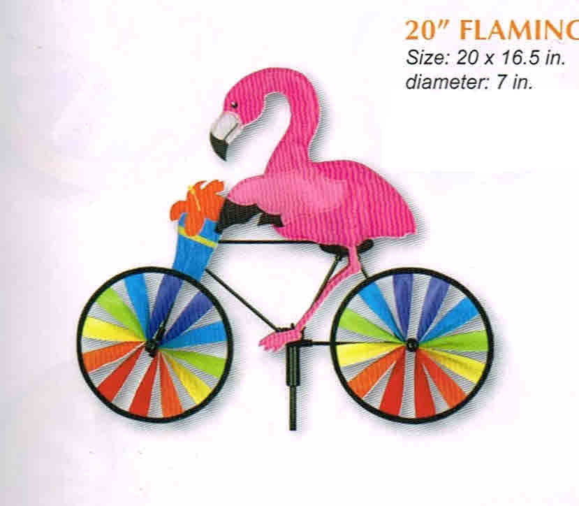 "FLAMANT ROSE À VÉLO 20"" VIRE-VENTS"