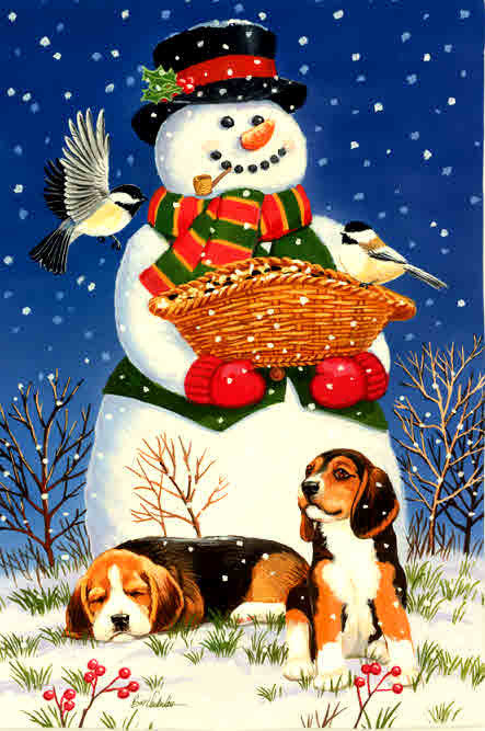 SNOWMAN, BIRDS & BEAGLES