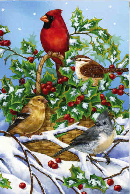 BASKET OF HOLLY WITH BIRDS